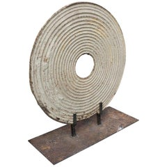 French Cast Iron Sculpture Concentric Circles Disc on Pedestal, circa 1900