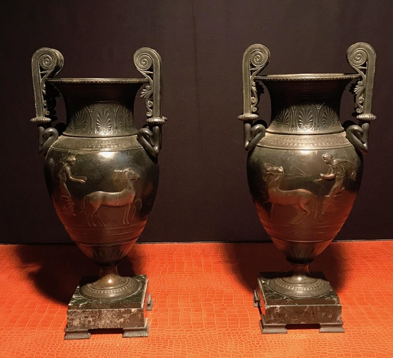 French Cast Iron Vases or Table Lamps and Green Marble Base, 19th Century, Pair For Sale 3