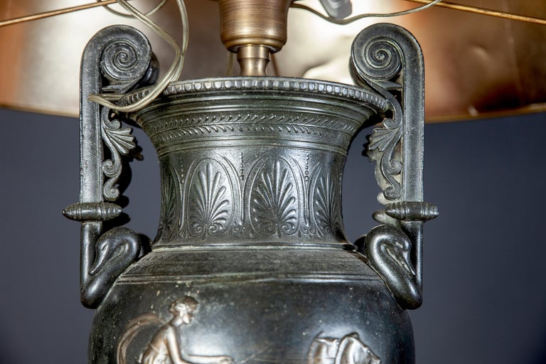 French Cast Iron Vases or Table Lamps and Green Marble Base, 19th Century, Pair For Sale 4