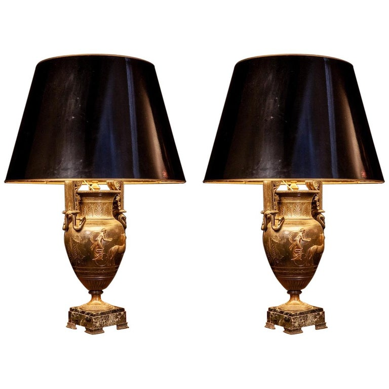 French Cast Iron Vases or Table Lamps and Green Marble Base, 19th Century, Pair For Sale