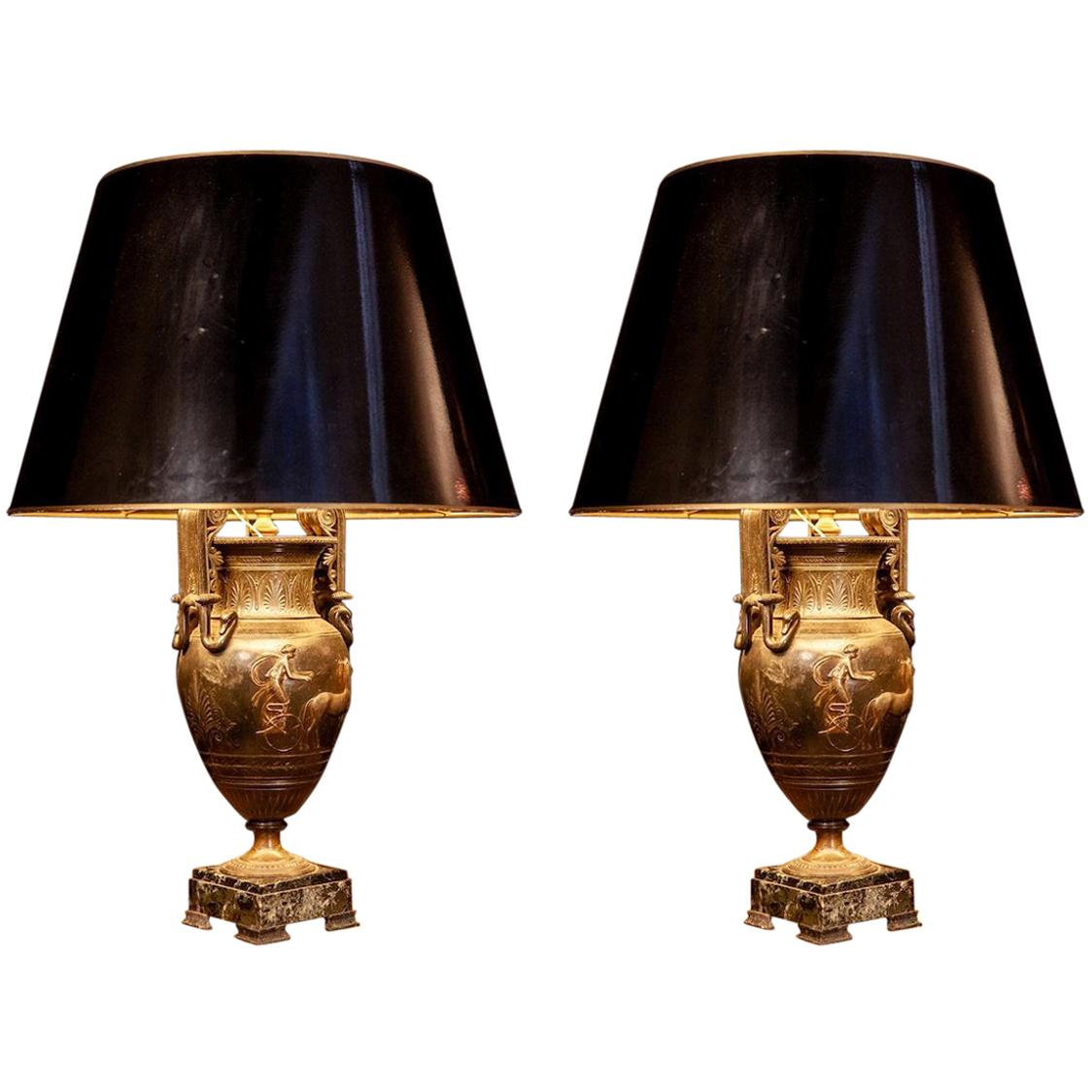 French Cast Iron Vases or Table Lamps and Green Marble Base, 19th Century, Pair