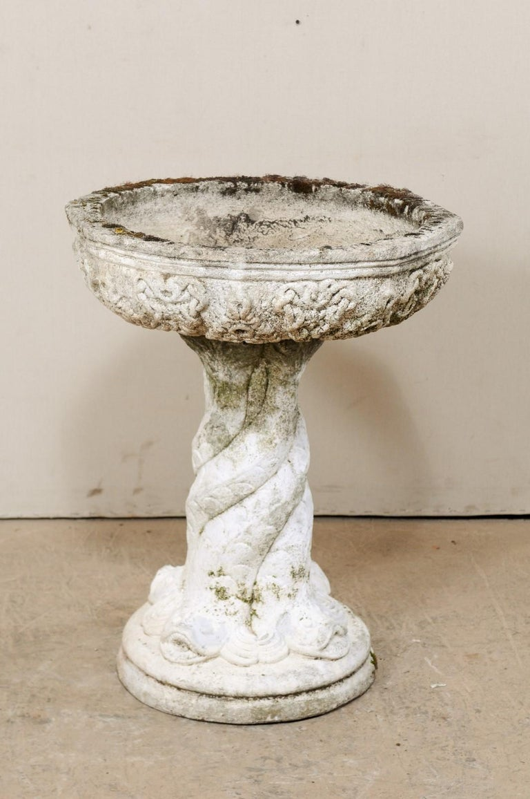 20th Century French Cast-Stone Garden Pedestal Planter or Fountain Base For Sale