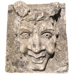 French Cast Stone Jester Fountain Mask