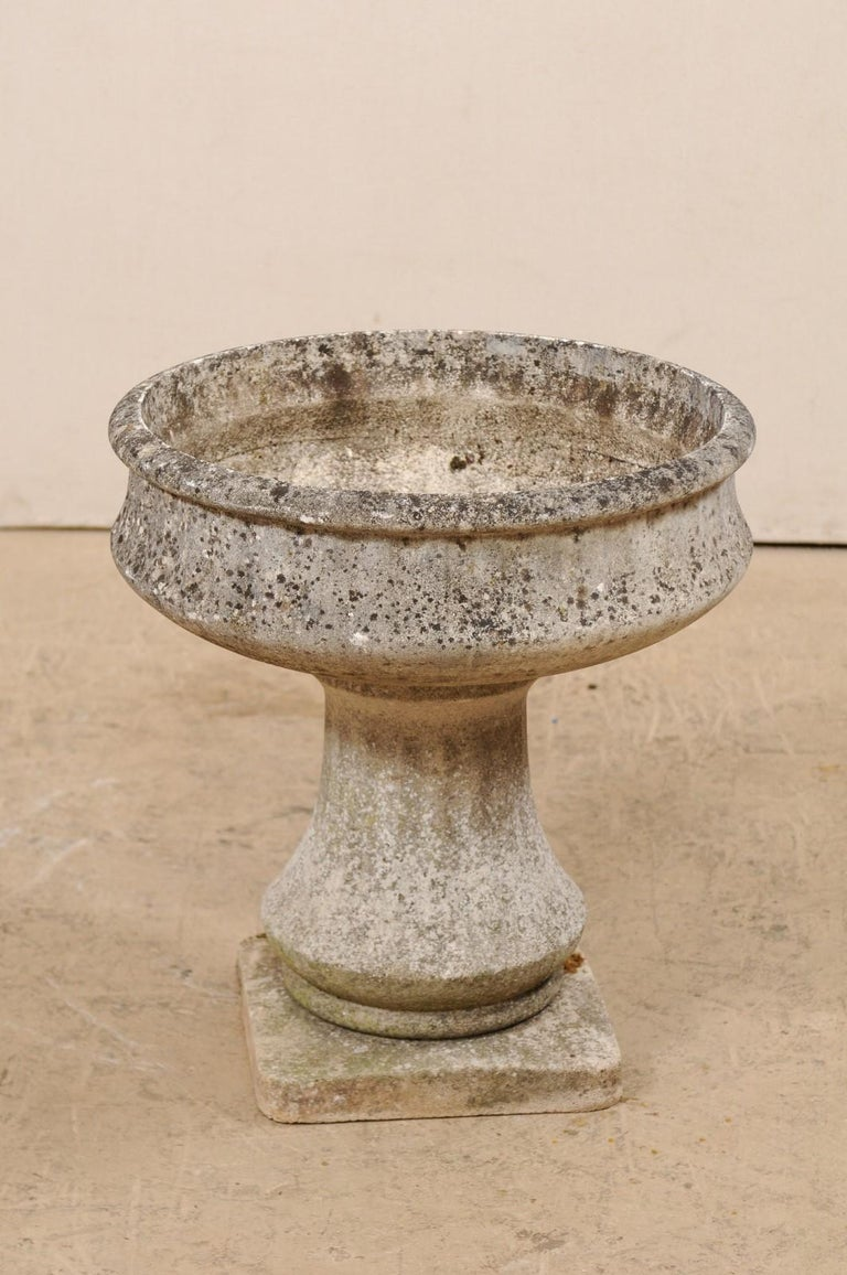 Cast Stone French Cast-Stone Pedestal Planter, Mid-20th Century For Sale