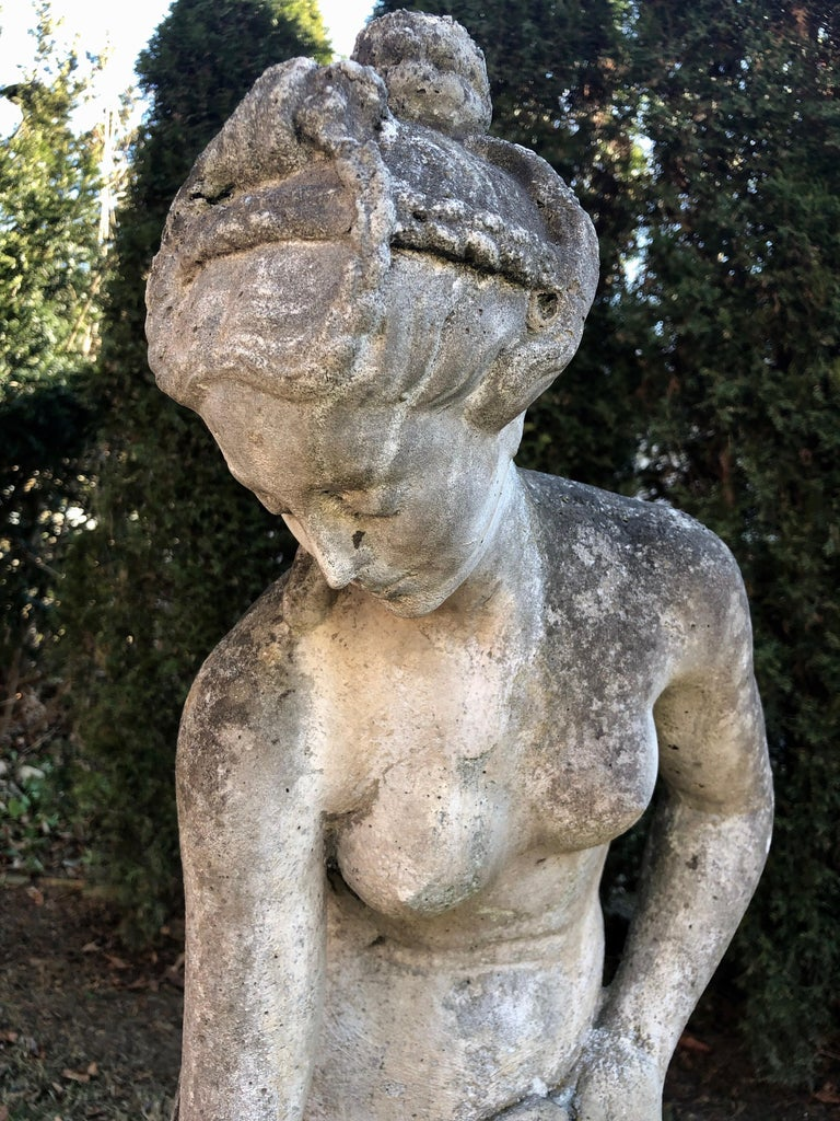 French Cast Stone Statue of Venus at the Bath In Good Condition For Sale In Woodbury, CT