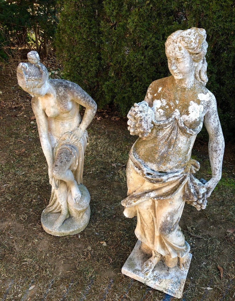 French Cast Stone Statue of Venus at the Bath For Sale 3