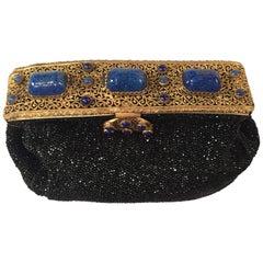French Caviar Beaded Evening Bag with Lapis Lazuli Set Frame circa 1930