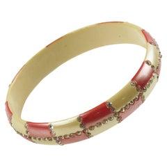 French Celluloid Geometric Jeweled Bracelet Bangle