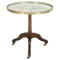 French Centre Table with Mirror Top and Brass Gallery