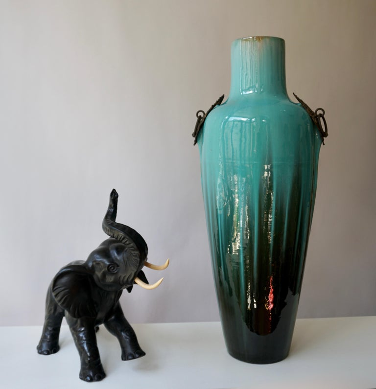 French Ceramic and Bronze Vase by Clement Massier For Sale 5