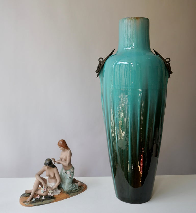 Glazed French Ceramic and Bronze Vase by Clement Massier For Sale