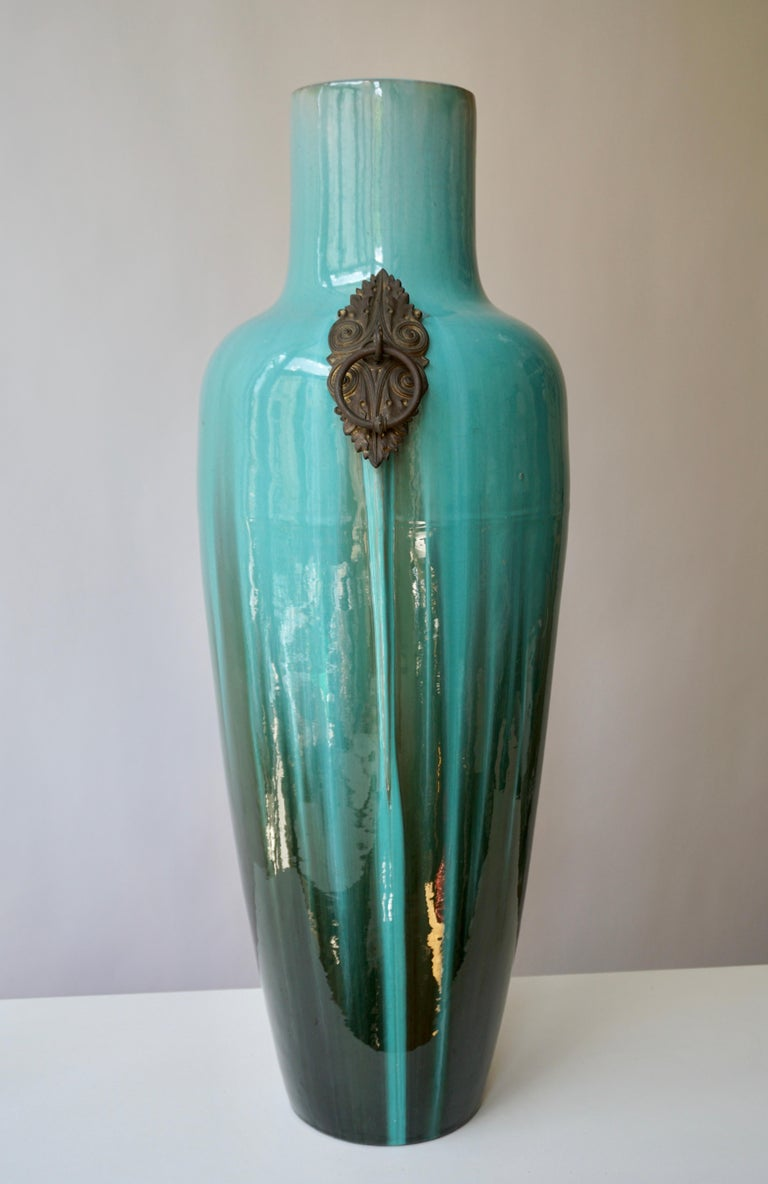 20th Century French Ceramic and Bronze Vase by Clement Massier For Sale