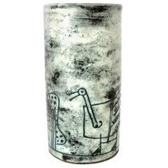 French Ceramic Artist Jacques Blin Light Blue Sgraffito Ceramic Vase