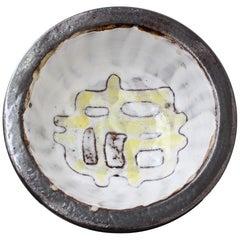 French Ceramic Decorative Bowl with Abstract Motif by Jean Rivier, circa 1960s