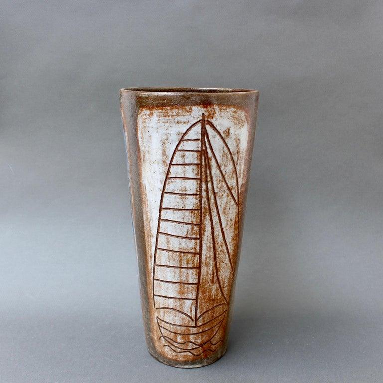 Mid-Century Modern French Ceramic Decorative Vase by Alexandre Kostanda, circa 1960s For Sale