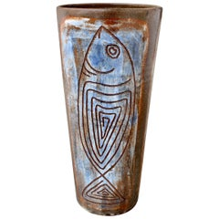 French Ceramic Decorative Vase by Alexandre Kostanda, circa 1960s