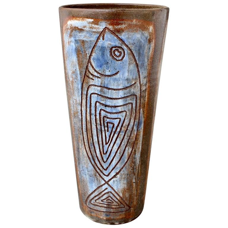 French Ceramic Decorative Vase by Alexandre Kostanda, circa 1960s For Sale