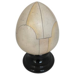 French Ceramic Egg Trompe l'oeil Faux Ivory, Signed Jean Roger, 1960