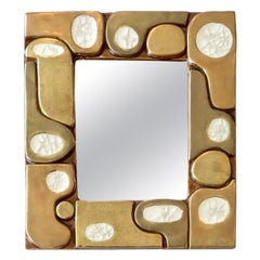 Mithé Espelt French Ceramic Gold Crackle Glazed and White Crystalline Mirror