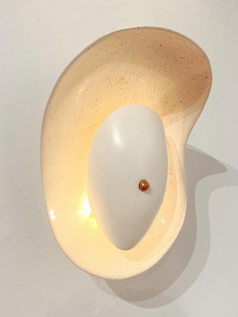 Contemporary French Ceramic Hand-Built Wall Light For Sale