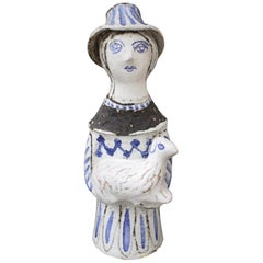 French Ceramic Man with a Lamb by Jean Derval, circa 1950s