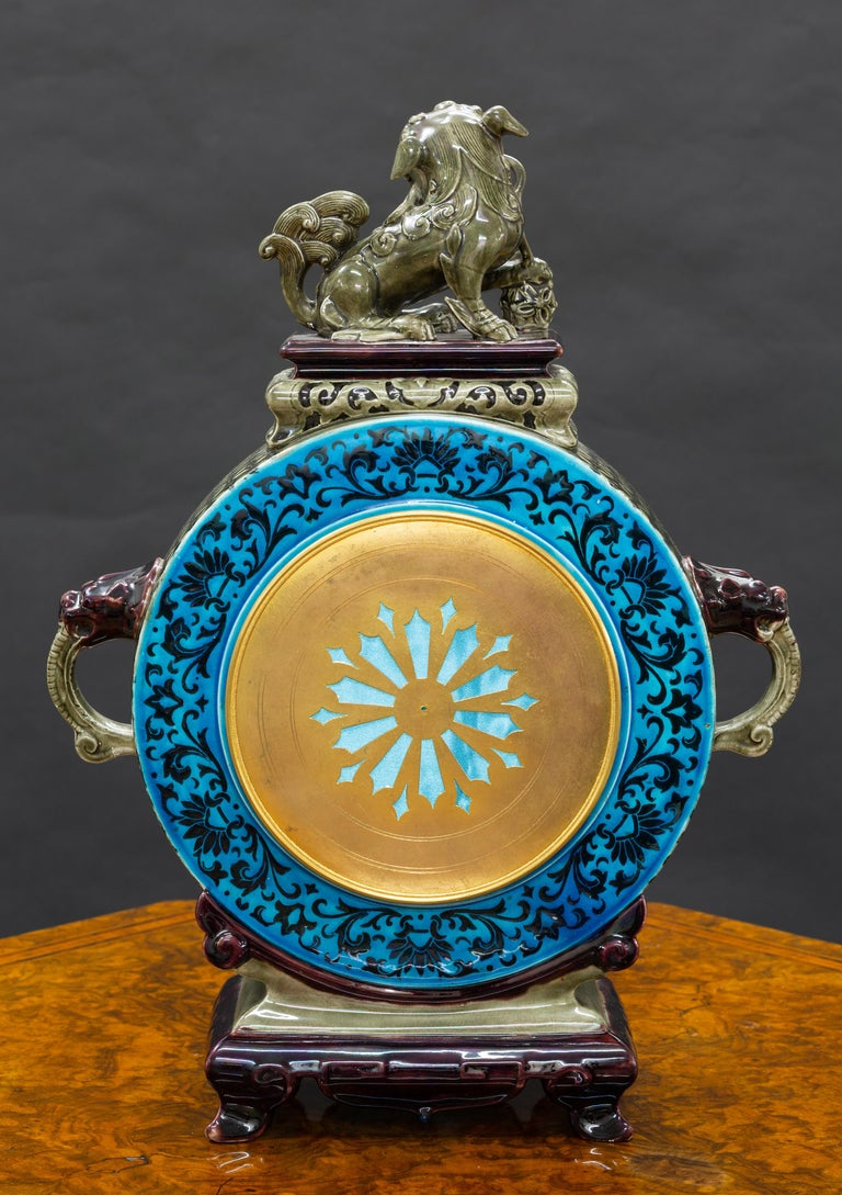 Other French Ceramic Mantel Clock with Chinese Decoration For Sale