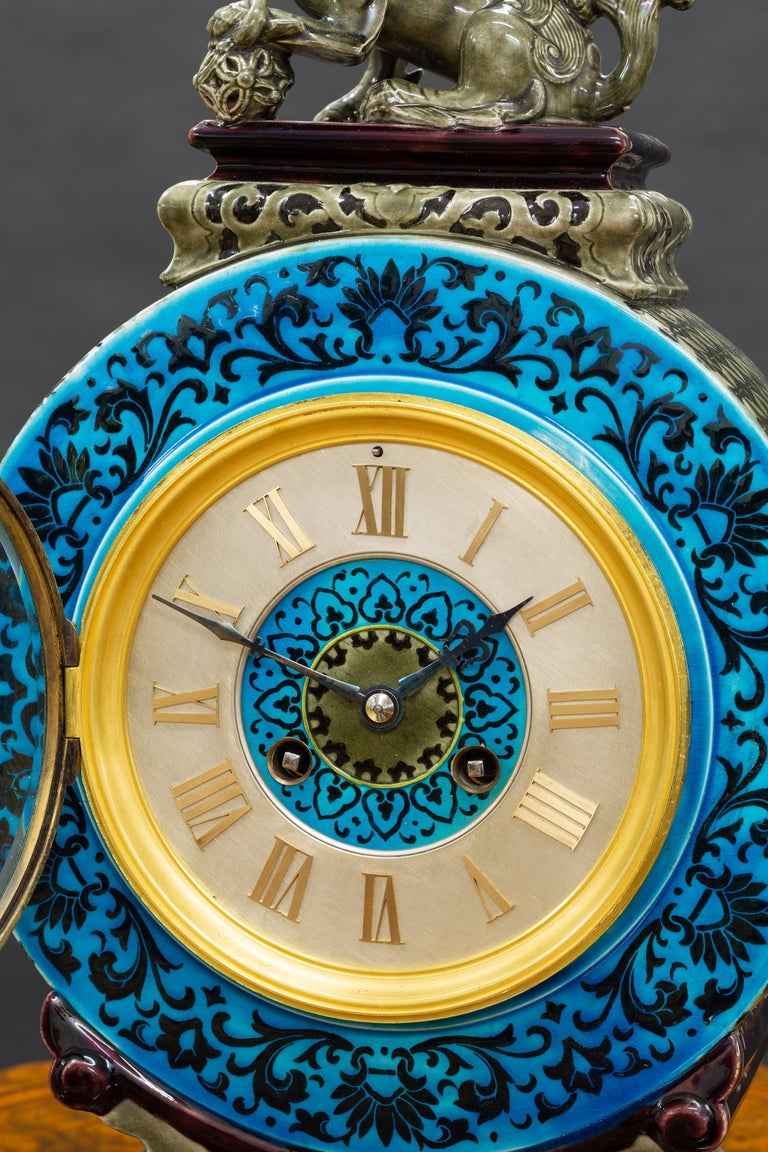 French Ceramic Mantel Clock with Chinese Decoration For Sale 1