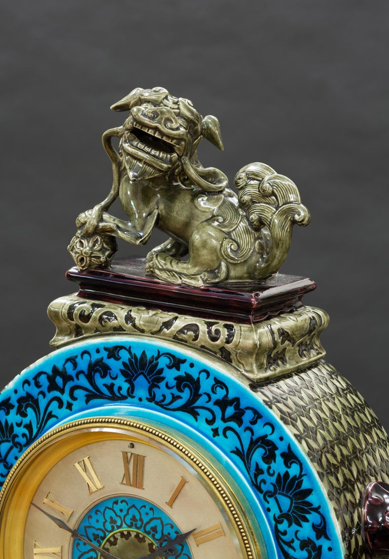 French Ceramic Mantel Clock with Chinese Decoration For Sale 2