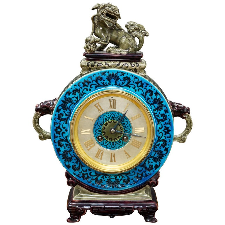 French Ceramic Mantel Clock with Chinese Decoration For Sale