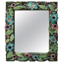 French Ceramic Majolica Mirror Lembo, Circa 1950