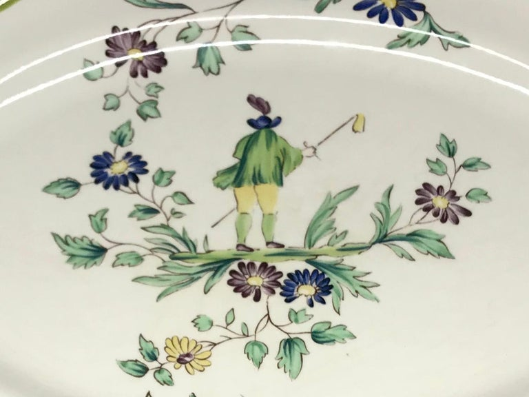 Hand-Painted French Ceramic Painted Chinoiserie Platter For Sale