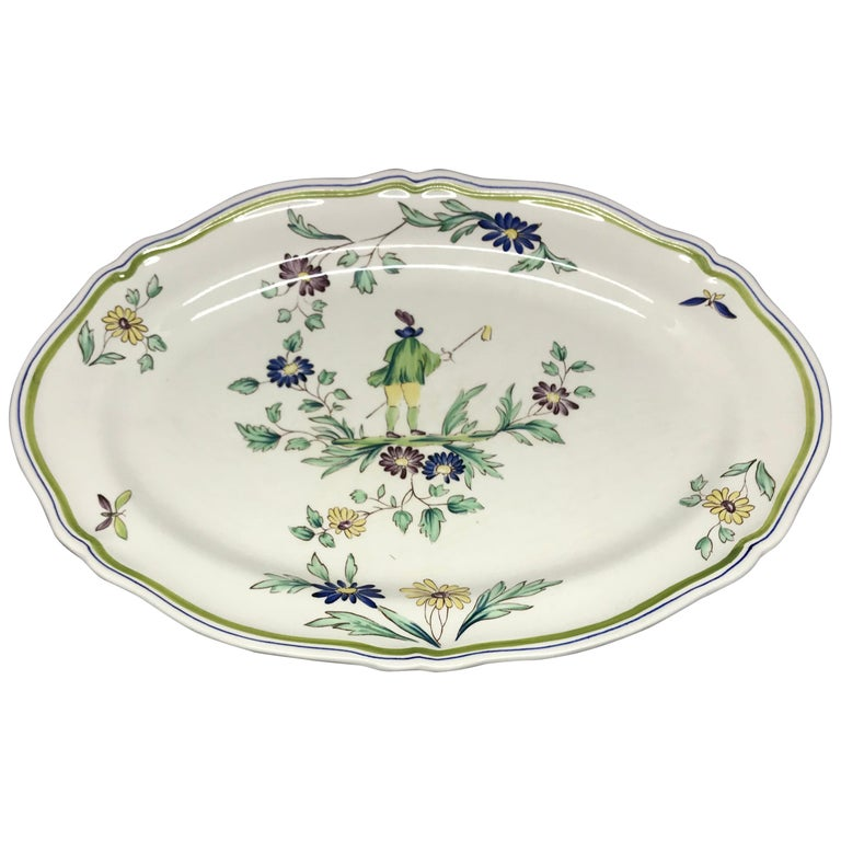 French Ceramic Painted Chinoiserie Platter For Sale