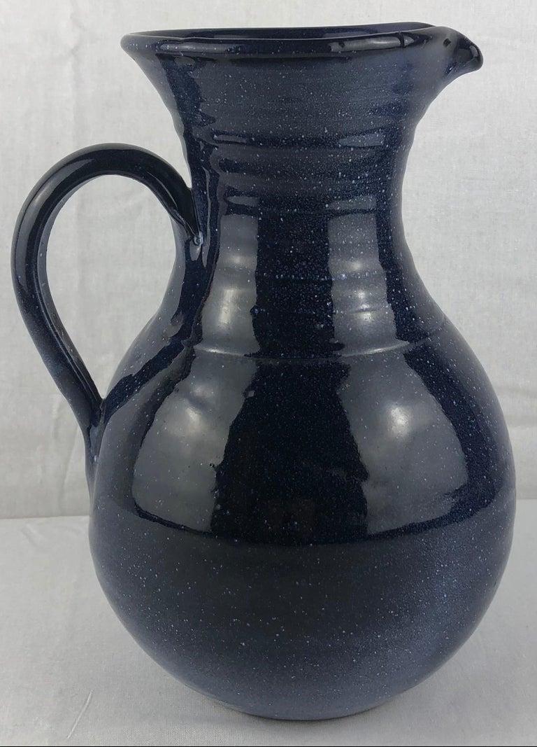Mid-Century Modern French Ceramic Pitcher or Handled Vase, Dark Blue For Sale