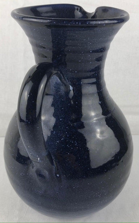 Glazed French Ceramic Pitcher or Handled Vase, Dark Blue For Sale