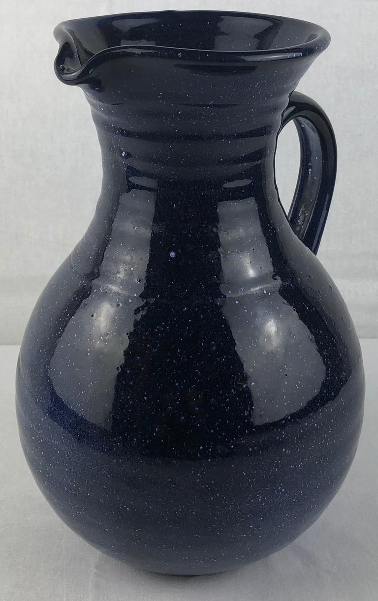 French Ceramic Pitcher or Handled Vase, Dark Blue In Good Condition For Sale In Arles, FR