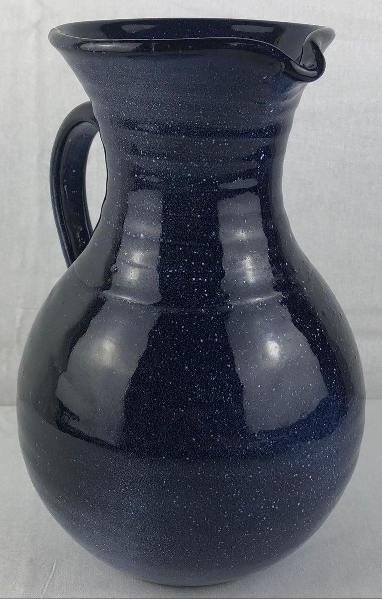 French Ceramic Pitcher or Handled Vase, Dark Blue For Sale 1