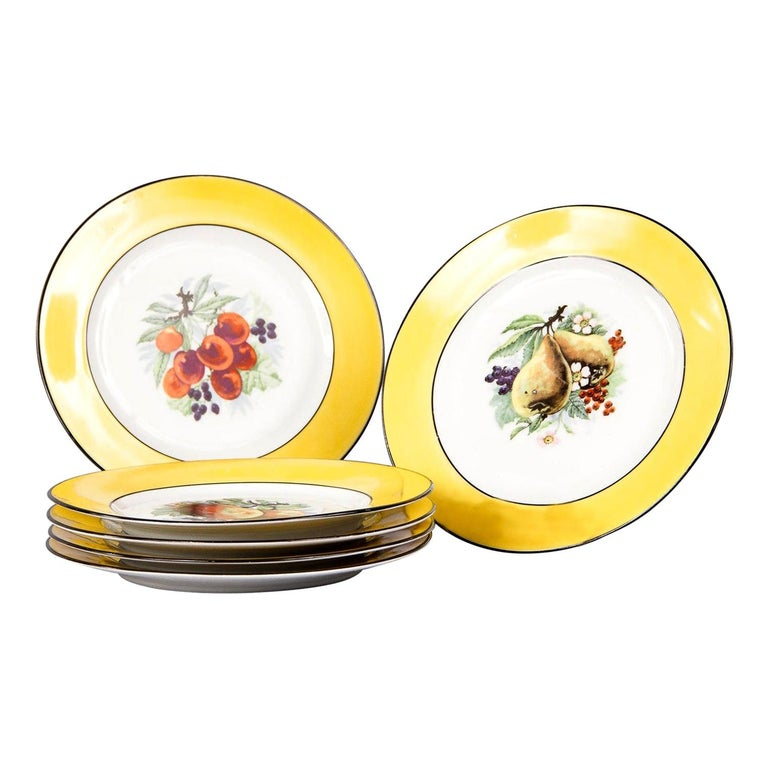 French Ceramic Plates from Mehun Factory, 20th Century For Sale