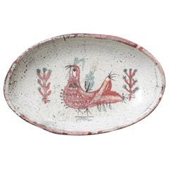 French Ceramic Rooster Motif Tray by Gustave Reynaud, Le Mûrier 'circa 1950s'