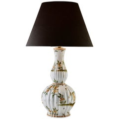 French Ceramic Table Lamp with Hand Painted Decoration, 1930s