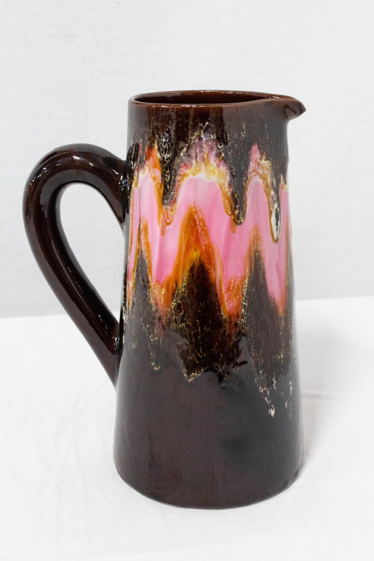 French ceramic pitcher from Vallauris, France, circa 1960. Picasso lived and worked in the town of Vallauris, France between 1948 and 1955. He contributed to the Renaissance of the pottery industry in that town. Very good condition.  Measures: