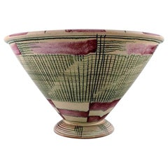French Ceramic Vase, Stylish Design with Geometric Pattern, circa 1940