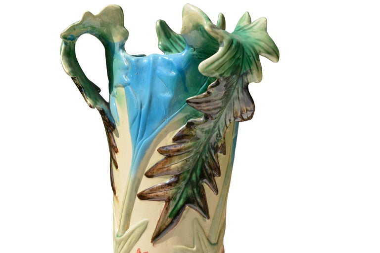 French Ceramic Vase with Flowers Motifs, circa 1900 In Excellent Condition For Sale In Sint-Kruis, BE