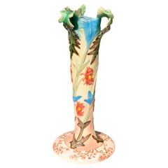French Ceramic Vase with Flowers Motifs, circa 1900