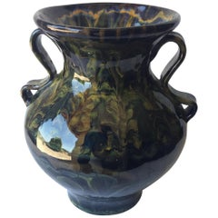 French Ceramic Vase with Handles from Quimper by Keraluc Pottery Studio