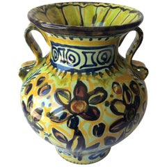 French Ceramic Vase with Handles from Quimper, France by Keraluc Pottery Studio