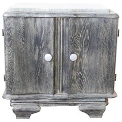 French Cerused Nightstand Side Cabinet Bedside Table Marble Top, 1940