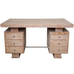 French Cerused Oak Desk in the Manner of Jacques Adnet
