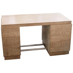 French Cerused Oak Desk, Manner of Jacques Adnet, France, 1940s