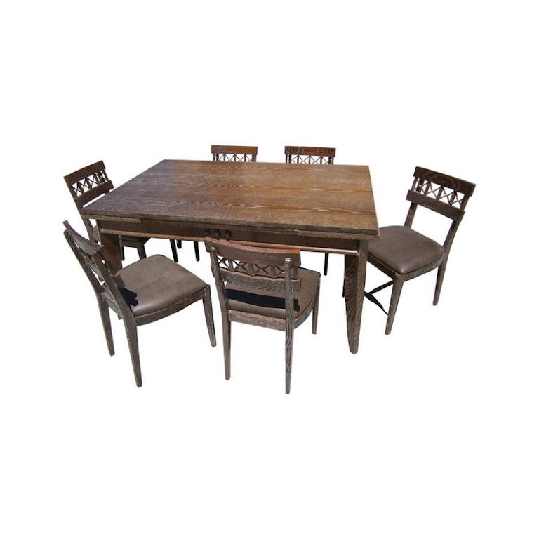 French Cerused Oak Dining Suite Attributed to Charles Dudouyt For ...