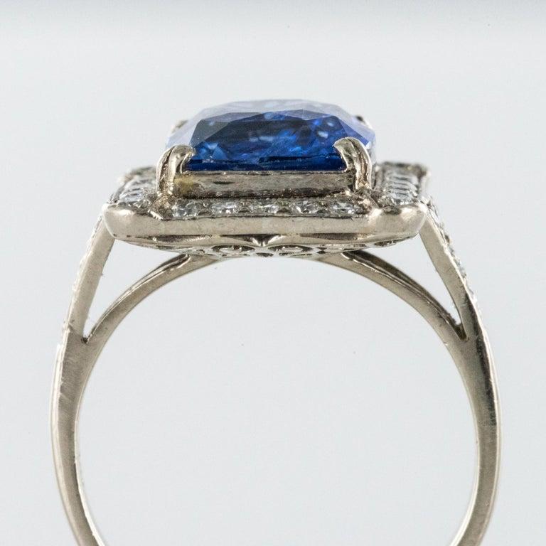 Art Deco Style French 5 Carat Ceylon Sapphire Diamond 18 Karat White Gold Ring For Sale 5